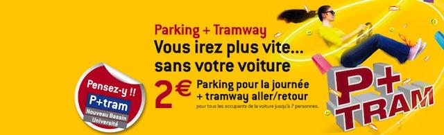 parking + tram