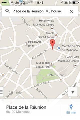 écran de recherche google maps