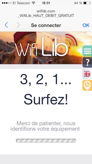 interface de wifilib après la connexion