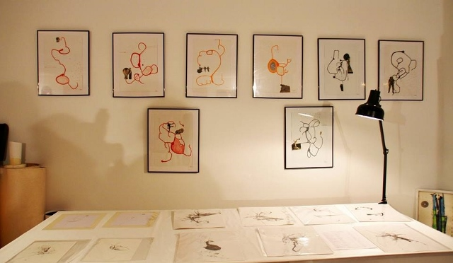 L'atelier de Sandrine Stahl au Séchoir et son travail à l'encre de chine