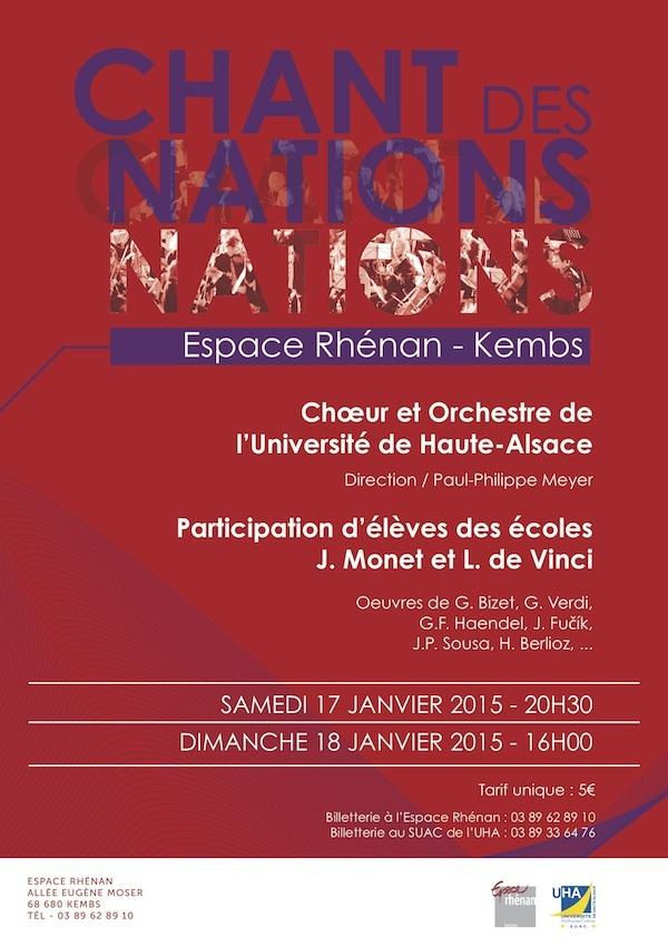 L'affiche des concerts de début d'année : Choeur et Orchestre de l'UHA. Kembs, janvier 2015