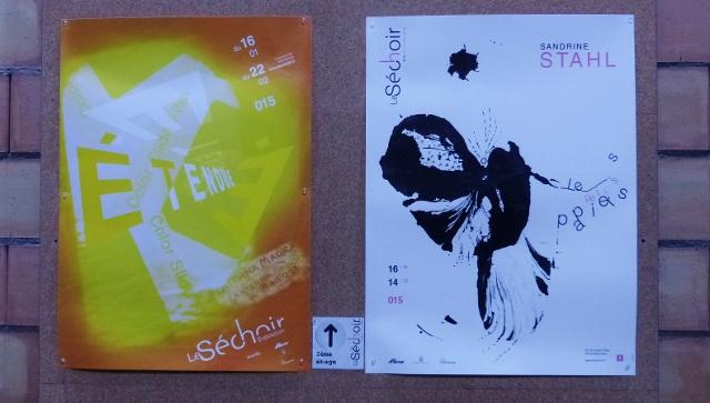 """Affiches de l'exposition collective """"Etendue"""" et de l'exposition personnelle de Sandrine Stahl """"Les Petits Papiers"""""""