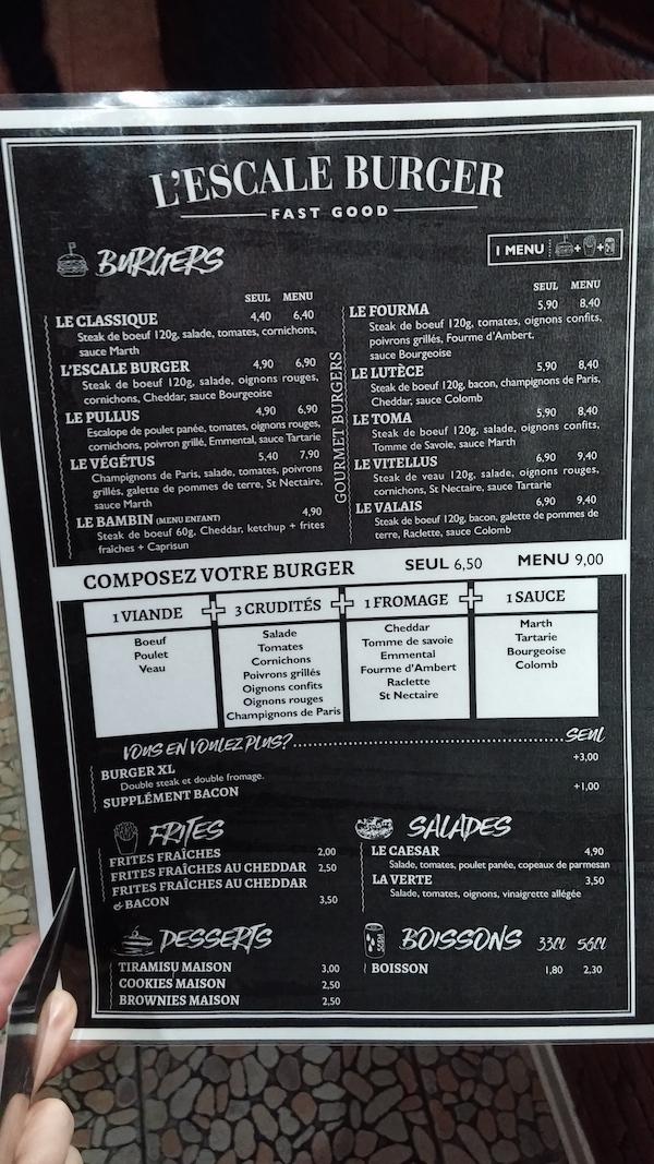 hamburgers au choix menu