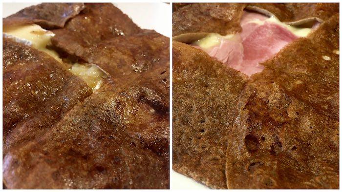 Galette camembert / écrasé de pommes à la vanille (à gauche) et galette raclette / jambon - © My-Mulhouse.fr