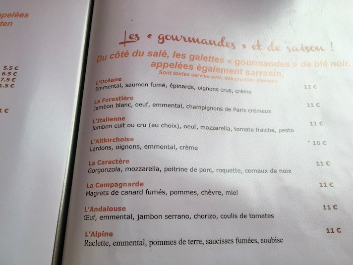 Un aperçu du menu de la crêperie - © My-Mulhouse.fr